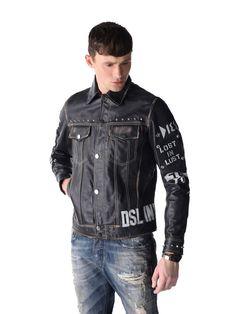 "DIESEL* ""L-Jim Patch"" Leather Jacket, Black"