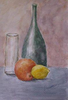Bodegón de frutas, botella y vaso