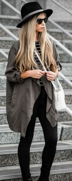 #fall #street #style   Khaki + Stripes + Black