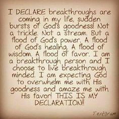 I declare breakthrough!