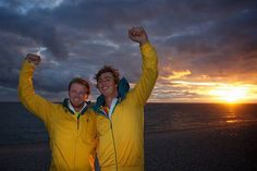 Sailors Ian Jensen (right) and Nathan Outteridge after all but sealing gold in the 49er class in Weymouth, on England's South Coast.  Photo by Jason South