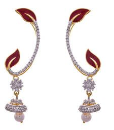 Buy Ruby gold plated american diamond ear cuffs ear-cuff online