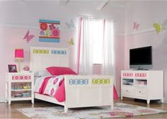 White Pink Theme Decoration and Modern Bedding Sets in Kids Bedroom Paint Decorating Designs Ideas
