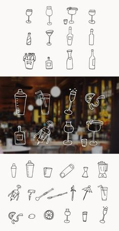 This pack by @Jennifer Coyle for @Medialoot has over 30 hand drawn drink and bartending vector illustrations. Included are doodles for wine, beer, cocktails, blenders, straws, corkscrews and more. These graphics are perfect for restaurant websites and menu designs.