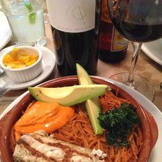 Fideos secos con camarón y dorado . Acompañado de tabla No1 de Zacatecas.