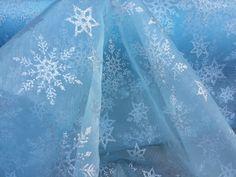 Turquoise Blue Silver glitter Snowflakes stars Organza Disney Frozen Elsa costume Dress deco Fabric dress Snowflake theme party PER METRE