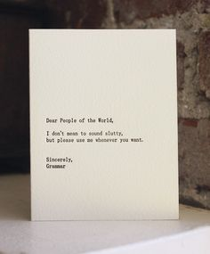 dear people of the world. letterpress card. $4.50, via Etsy.
