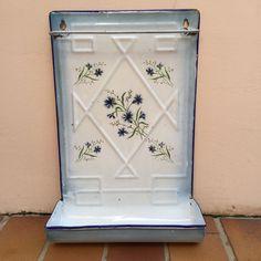 Vintage French Enamelware, flowers white Enamel Utensil
