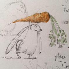 """1,131 Likes, 13 Comments - Emily Gravett (@emily_gravett) on Instagram: """"Monday morning rabbit (with carrot) #bunniesofinstagram #bunnies #rabbits #sketchbook…"""""""