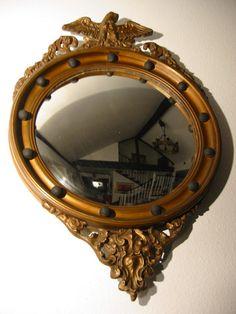 Regency Convex Eagle Crest Gilt Wood Mirror Applied Circular Black Bal – Designer Unique Finds