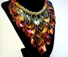 Fire Statement Necklace Chainmail Scalemaille Elemental Leaves Stunning Necklace