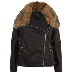 New Look Curves Black Faux Fur Trim Leather-Look Jacket ($53) ❤ liked on Polyvore featuring outerwear, jackets, black, imitation leather jacket, zipper jacket, synthetic leather jacket, faux fur collar jacket and vegan jacket