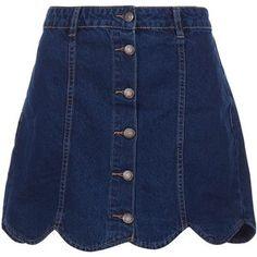 Blue Denim Button Front Scallop Hem A-Line Skirt - Polyvore