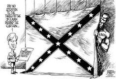 Political cartoon with confederate army flag.
