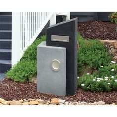 Find Northcote Pottery Grey and Charcoal Elite Avonlea Pillar Letterbox at Bunnings Warehouse. Visit your local store for the widest range of garden products. Parcel Drop Box, Modern Fence Design, Modern Mailbox, Mailbox Landscaping, Metal Letters, Country Style Homes, Facade House, Diy Home Improvement, House Front