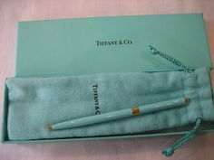 Vintage Tiffany Blue Lacquer Retractable Ball Point Purse Pen - New in Dust Cover & Box by CLASSYBAG on Etsy