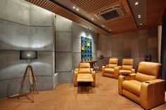 Krishnashray – a+t associates – Modern Corporate Office Design Lobby Interior, Flat Interior, Apartment Interior, Apartment Design, Interior Design, Home Theater Room Design, Home Cinema Room, Home Theater Rooms, Corporate Office Design