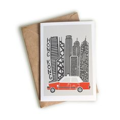Hong Kong Card, A6 Size, World Travel Card, Taxi Illustration, China Gift, Skyscrapers, Travel Gift idea, Sorry You're Leaving, Red White
