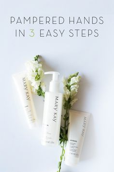 Pampered hands. Three easy steps. Care for your skin with our Fragrance-Free Satin Hands® Pampering Set, an easy three-step system that helps keep hands feeling renewed, soothed and pampered. | Mary Kay
