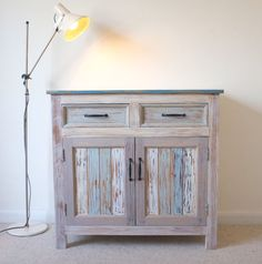 Beach Hut Style Cupboard - Cool ocean tones - Made from reclaimed wood : )