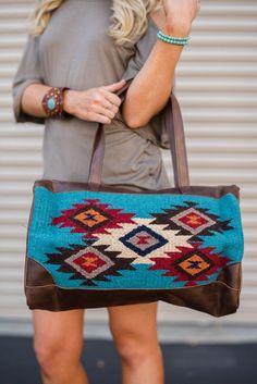 Patterned Southwestern Oversized Handbag with Brown Leather straps. Oversized boho tote from Three Bird Nest. #boho #southwestern #purses