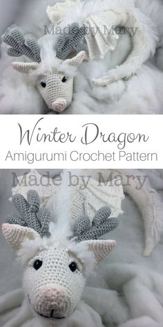 This Winter Dragon Amigurumi crochet pattern is beautiful! It would make the perfect gift for kids as is or could be made using bright colors for a fun spin! #amigurumitoy #amigurumi #amigurumipatterns #ad