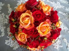 Fall Wedding Bouquets | Silk Flower Red Orange Bridal Autumn Fall Wedding Silk and Realtouch ...