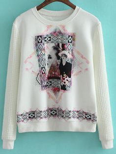 White Long Sleeve Beauty Print Sweatshirt 18.00