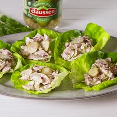 Before you go accusing us of being pickle maniacs, hear us out. Dill pickles add a tangy crunch that compliments the creaminess of traditional chicken salad. #easyrecipe #chicken #salad #lowcarb #recipes
