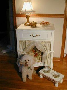 Turn a END TABLE into a DOG BED...this is such a great idea! Love how pretty this is! Featured on our Best Upcycled Ideas.  http://kitchenfunwithmy3sons.com/2016/04/best-upcycled-furniture-ideas.html/