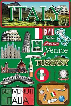 Reminisce 3-D LAYERED Stickers-ITALY scrapbooking TUSCANY VENICE ROME