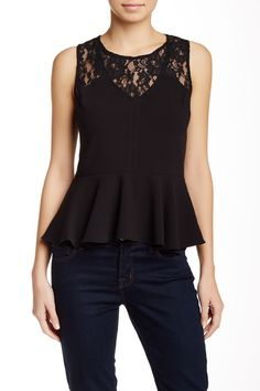 Lace Trim Peplum Blouse by 1.State on @nordstrom_rack