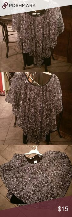 Cato Black blouse with silver & white detaik Butterfly shirt with. Black with silver & white print... has a black camisole attached ... beaded neckline... NWT from Cato's size 14/16W Cato Tops Blouses