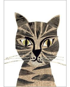 brown tabby cat original paste art collage piece on 100% cotton board by denise fiedler