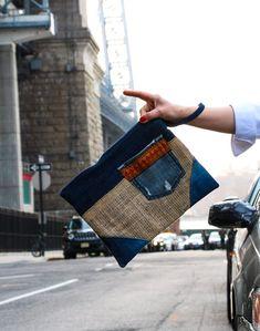 Salvaged Burlap and Denim Clutch. Burlap Bags, Jute Bags, Fabric Bags, Denim Fabric, Denim Bag, Pouch Bag, Clutch Purse, Purses And Bags, Vegan Bag