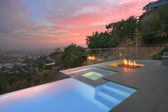 Glamorous Emser Tile mode Los Angeles Modern Pool Inspiration with City life city view Entertaining fire pit glass railing hillside Hillside House hot tub ...