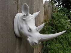 Taxidermy / Rhino Head / Wall Mount / Modern Wall Decor/ Faux taxidermy. $125.00, via Etsy.