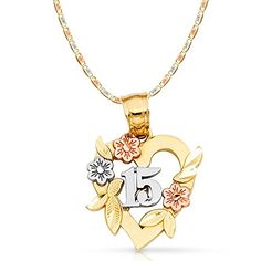 beb2353747e7 14K Tri Color Gold 15 Years Quinceanera Years Heart Charm Pendant with  2.6mm Valentino Star Diamond Cut Chain Necklace - 22
