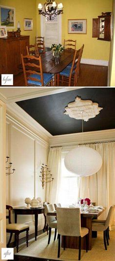 This is terrific interior decorating on a budget. The neutral color scheme gives this dining room an air of sophistication. The dramatic black ceiling showcases a gorgeous over-scaled ceiling medallion. Molding adds detail and architectural interest to the cream-colored walls.