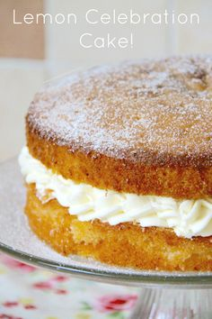 Lemon Celebration Cake! A moist & Lemony Sponge filled with a dash of Lemon Curd, and a Luscious Lemon Buttercream!