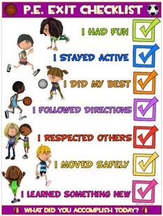 PE Poster: Physical Education Exit Checklist by Cap& Pete& Power PE Physical Education Activities, Elementary Physical Education, Pe Activities, Health And Physical Education, Elementary Education, Texas Education, Education Week, Science Education, Education Quotes