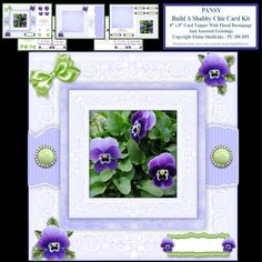 Build A Shabby Chic Decoupage Pansy Card Topper Kit With Assorted Insert Greetings & Tags by DigitalHeaven on Etsy
