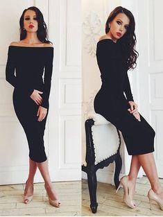 Черное элегантное платье миди длинны со спущенными плечиками, фото 1
