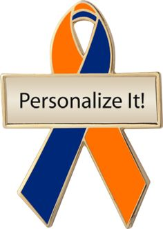 personalized and engravable orange and blue awareness ribbon pins for human rights for family caregivers