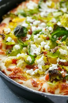 Cast Iron Skillet Pizza with Goat Cheese and Brussels Sprouts from @Lindsay Dillon Dillon Dillon Dillon Landis | Love and Olive Oil