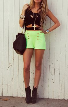 lime green shorts, hot top