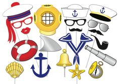 Nautical Party Photo booth Props Set - 20 Piece PRINTABLE - Sailor, Navy, Shark, Ancor, Sea, Travel Photo Booth Props