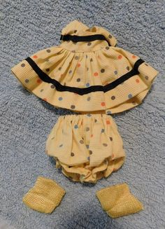 GINNY  YELLOW POLKA DOT OUTFIT Dress w Socks, Vintage 1954-56 VOGUE 8""