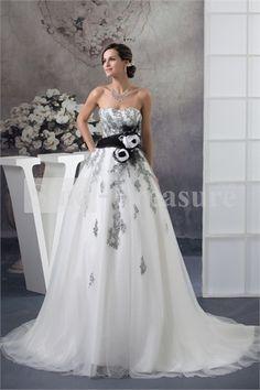 White Beading Satin/Fine Netting Hourglass Sweetheart Court Train A-line Wedding Dress 001