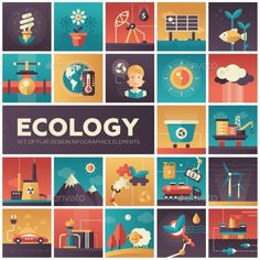 Ecology - Modern Flat Design Isquare Icons by decorwm Set of modern vector ecology, environment protection flat design icons in squares. Energy saving, pollution, recycling, heavy indu